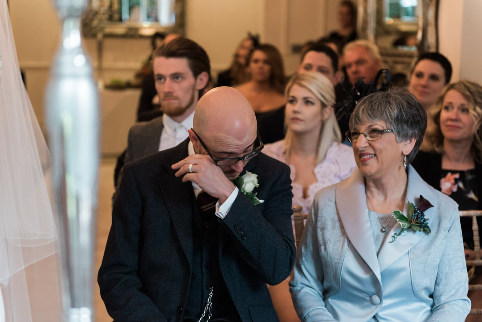 man crying in a wedding ceremony in Nottingham