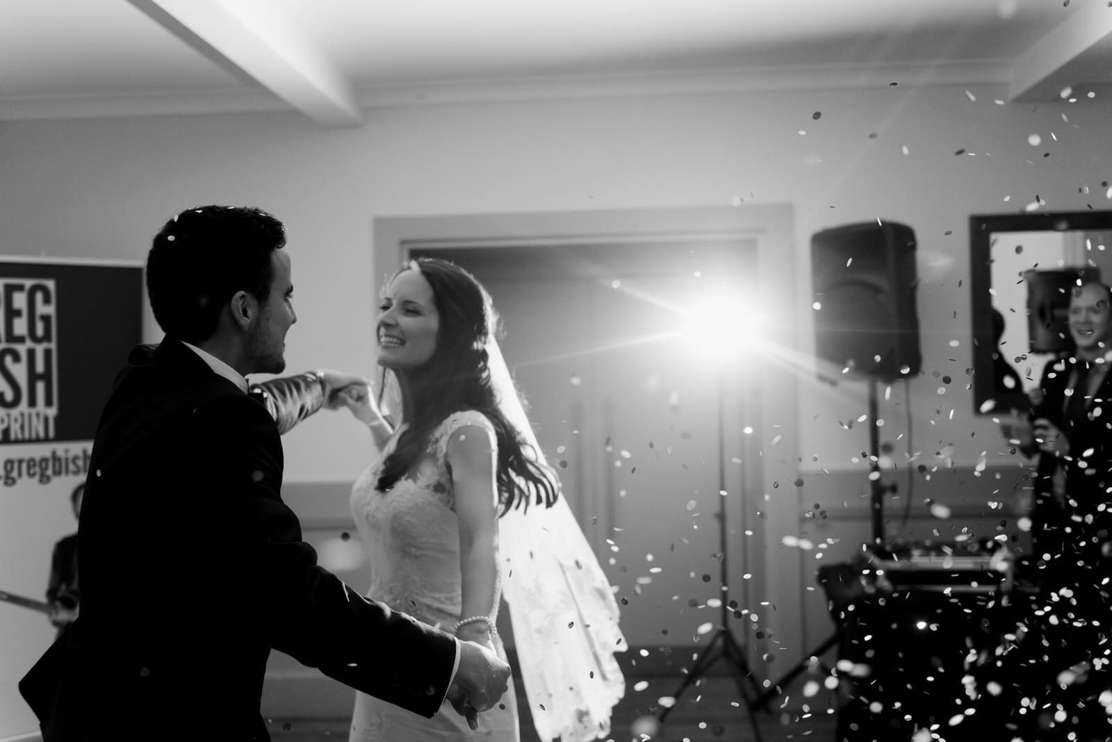 Sheffield wedding photography of a confetti cannon at Whirlowbrook Hall
