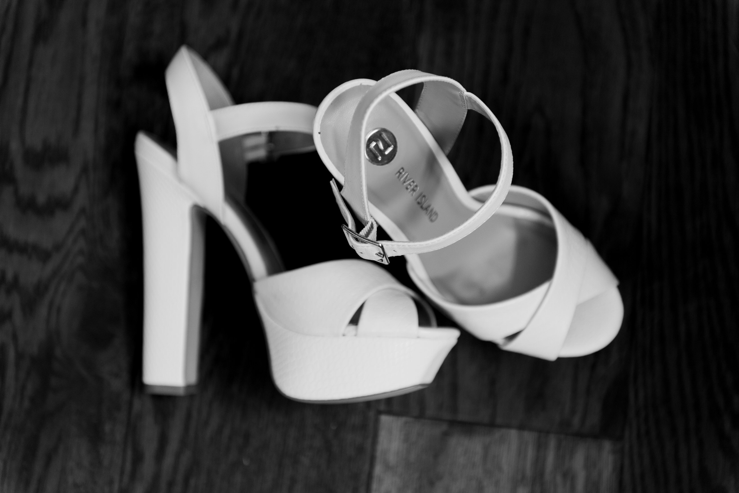 Close up of brides wedding shoes