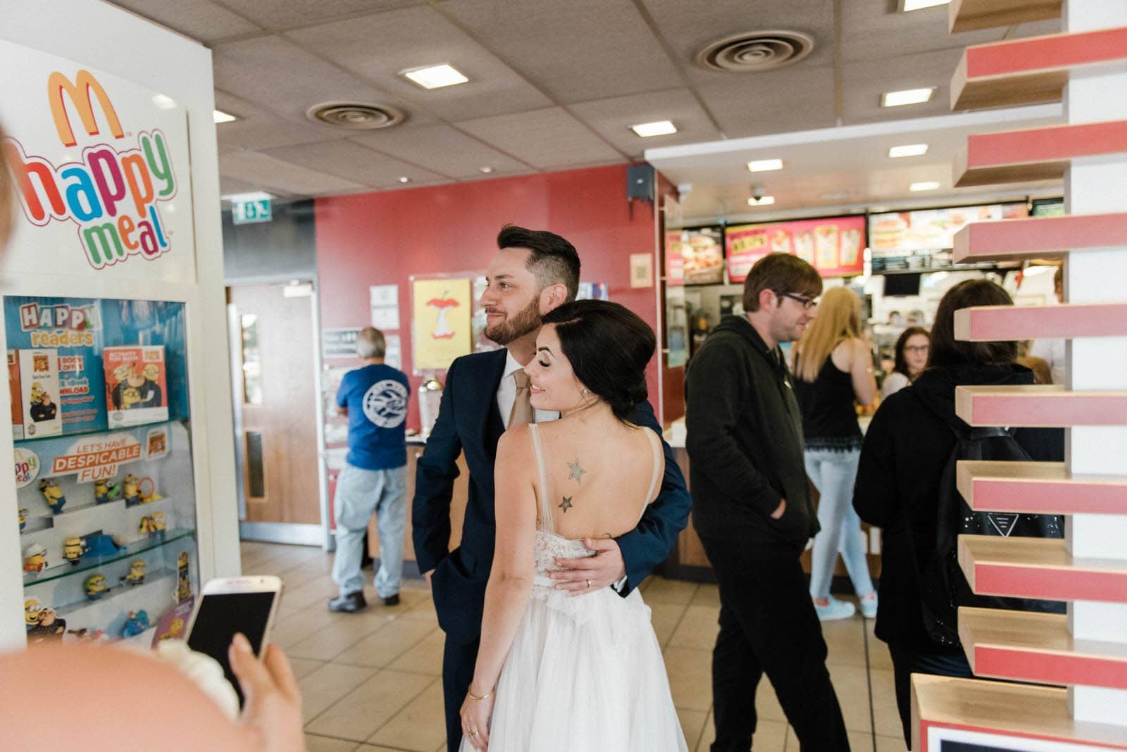 Bride and Groom at Macdonalds on their wedding day in Grimsby