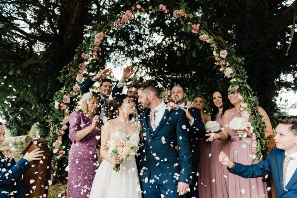 Lincolnshire wedding photography - confetti at Oaklands Hall Hotel