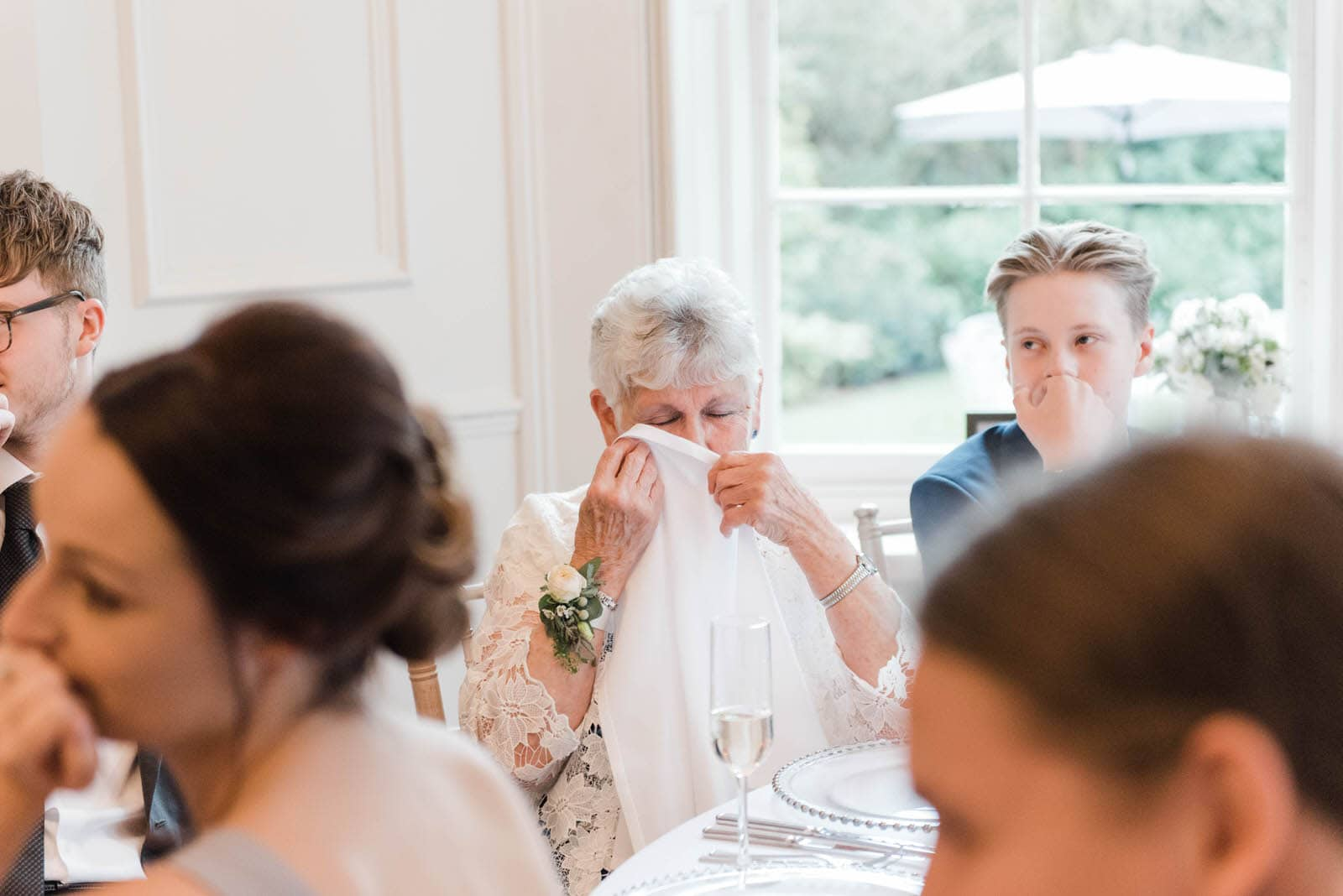 wedding guests crying during speeches at Nottingham wedding