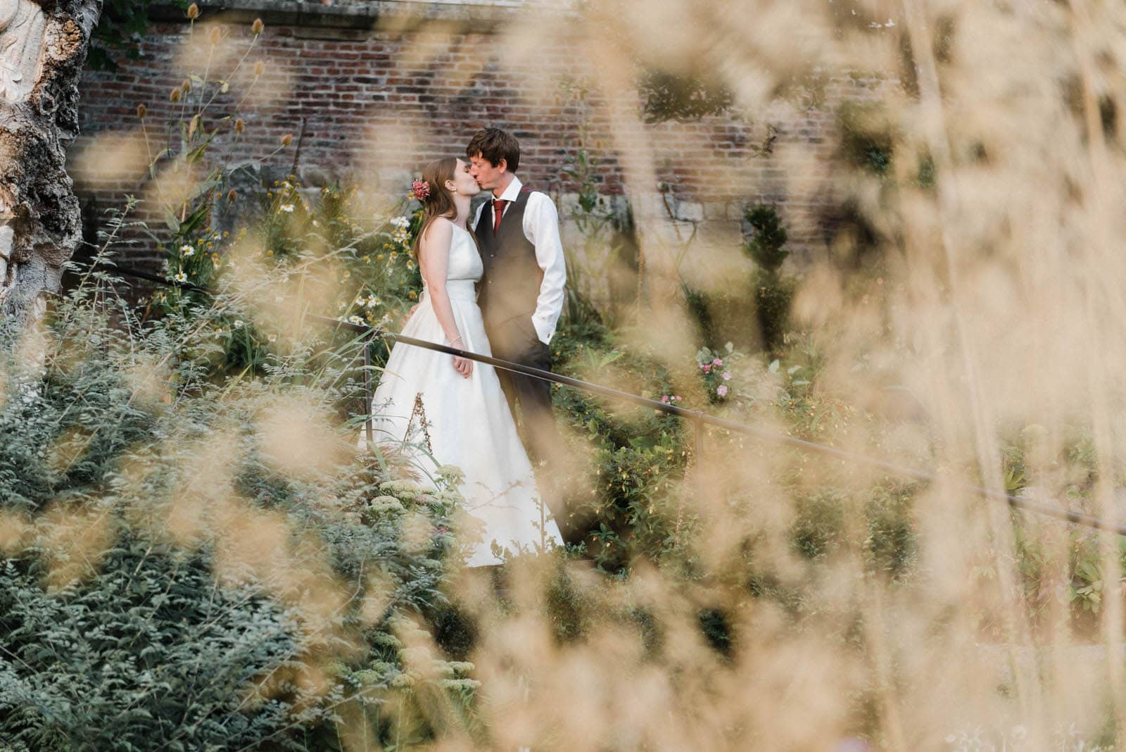Bride and groom in the gardens of Grays court York