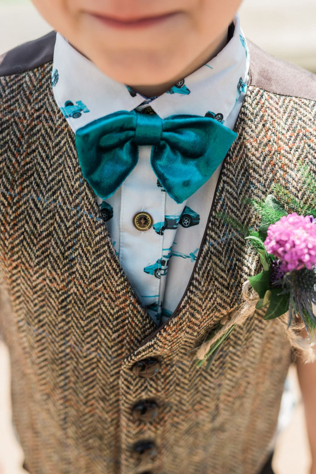 page boy suit blue bow tie in bolton wedding