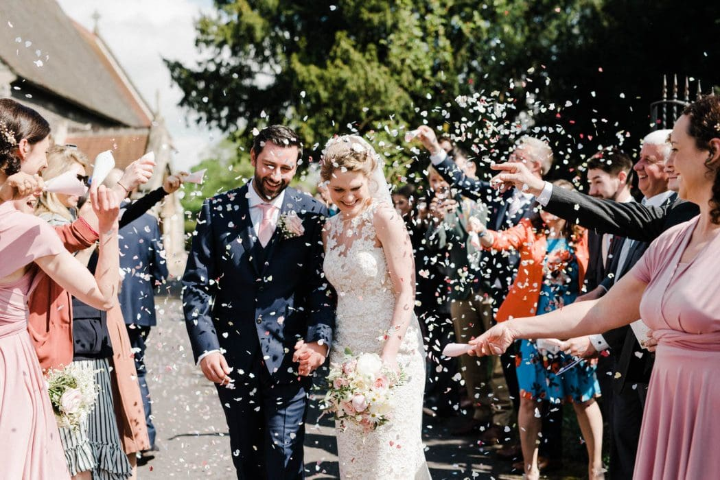 Confetti wedding photograph in Nottinghamshire