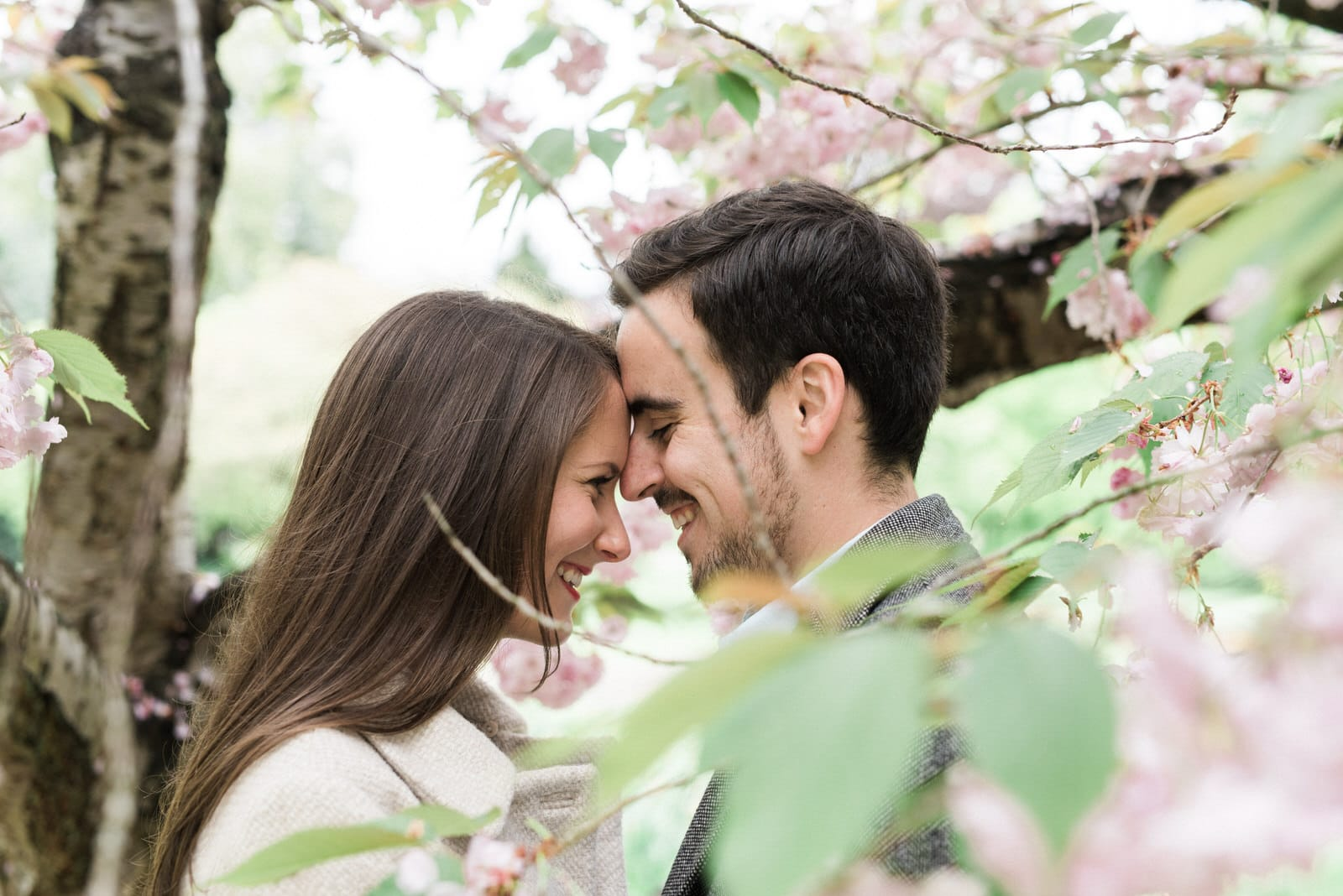 Couple hugging and laughing behind blossom tree