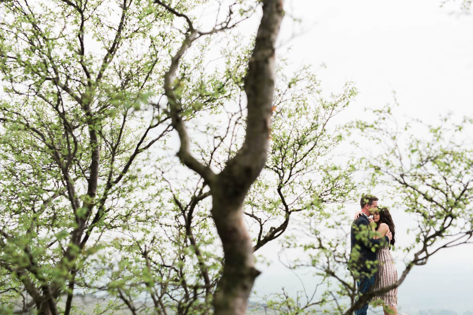 Couple stood hugging behind trees in Yorkshire