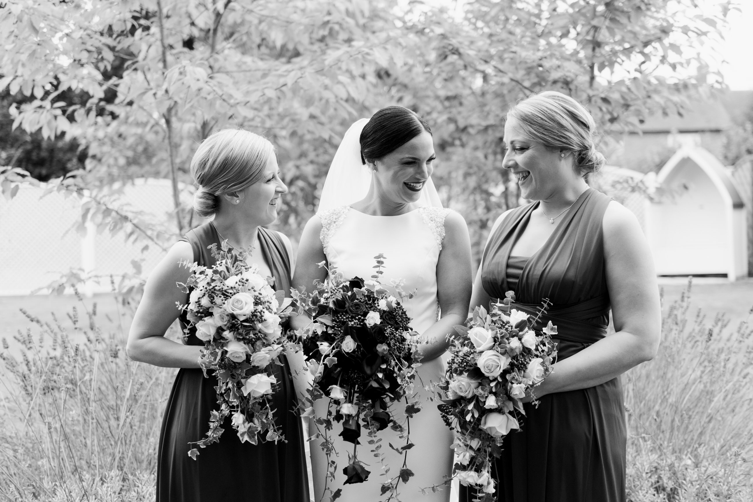 Bride with bridesmaids at old vicarage boutique hotel