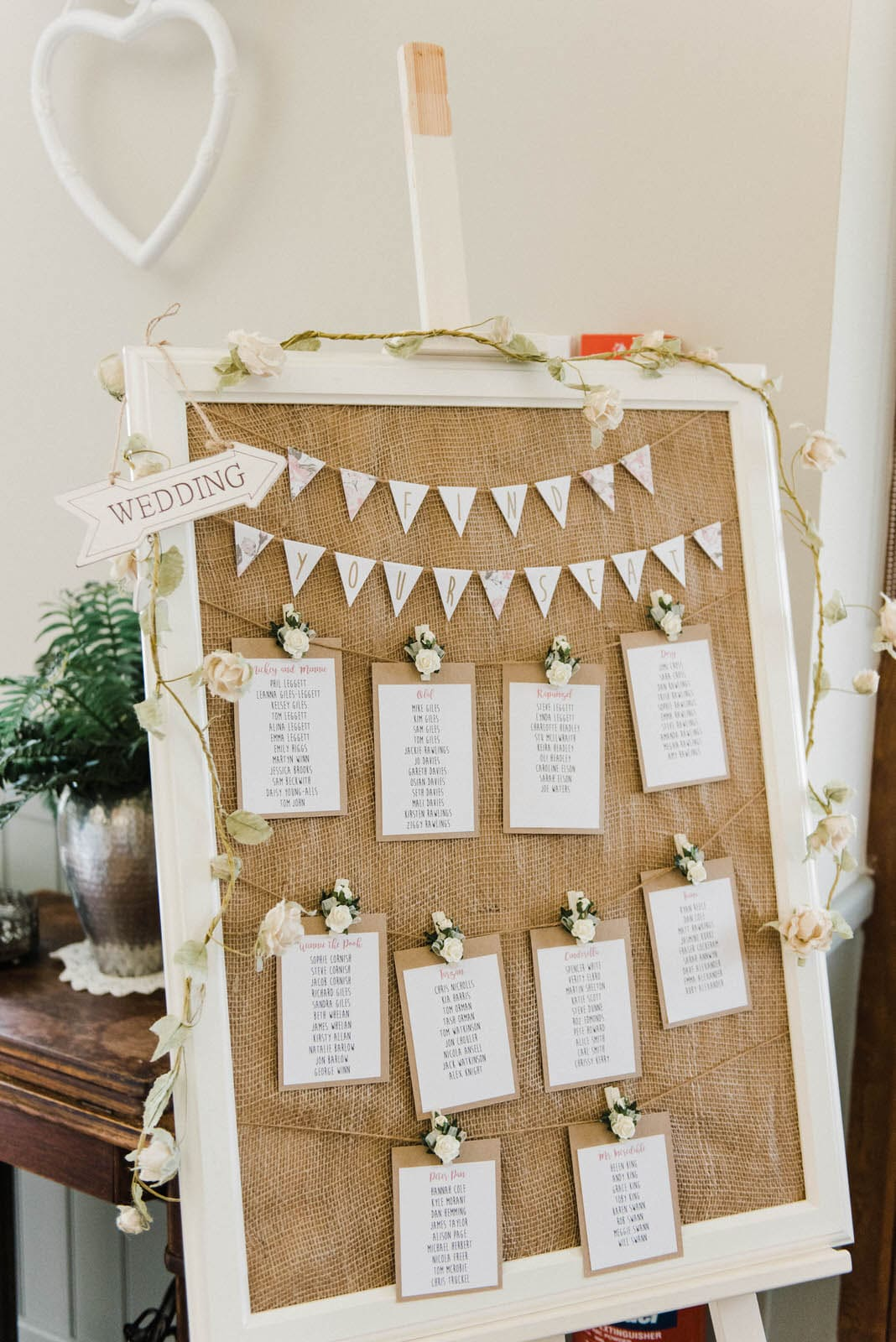DIY table plan at wedding at Floral Media in Newark