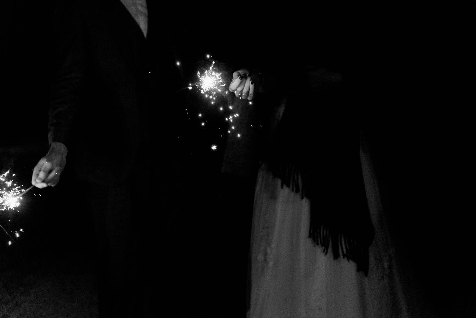 Danby Castle Wedding - bride and groom holding sparklers