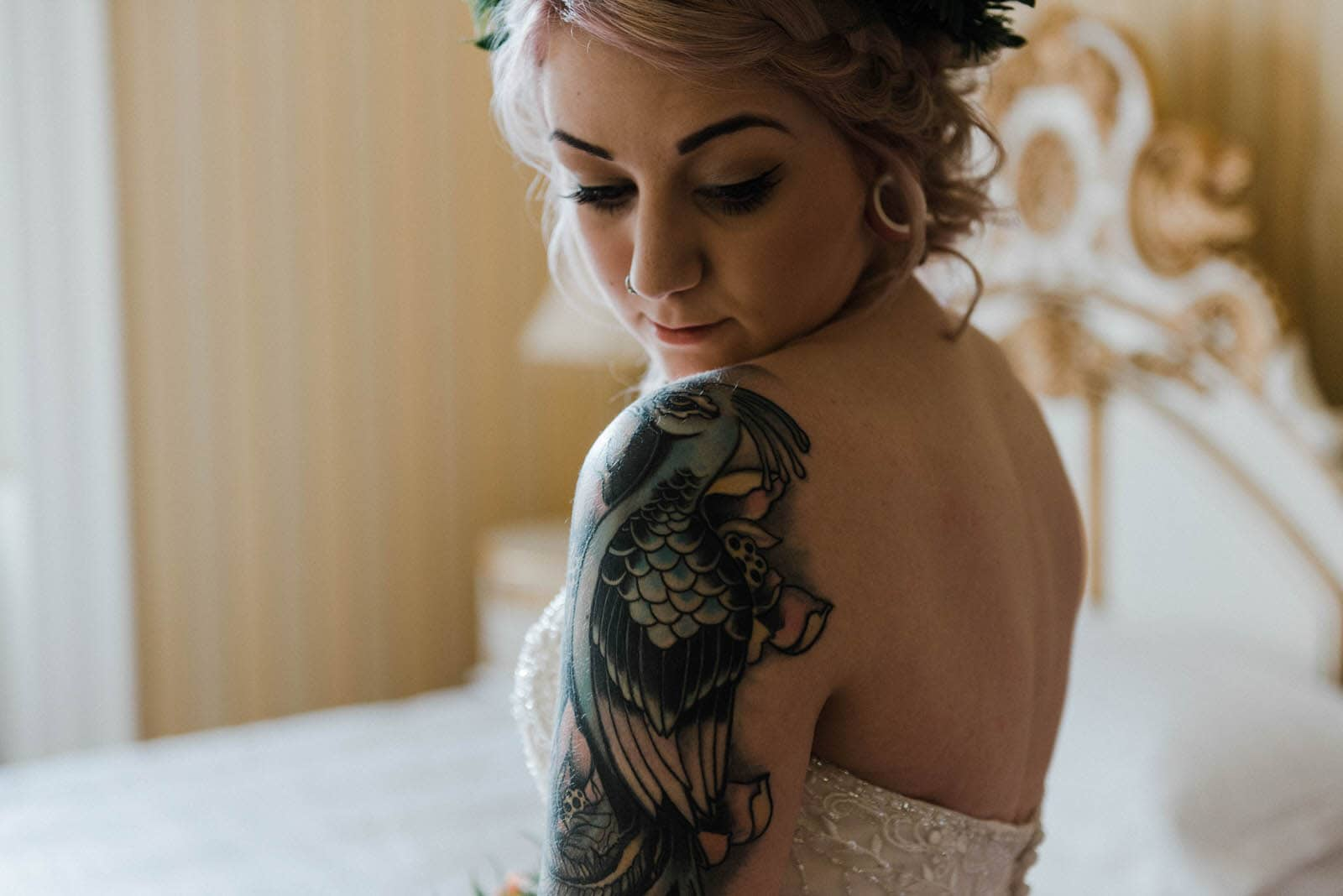 Tattoed bride at Hirst Priory wedding getting ready