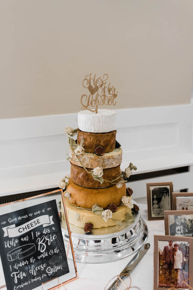 6 tiers wedding cake of cheese wheels