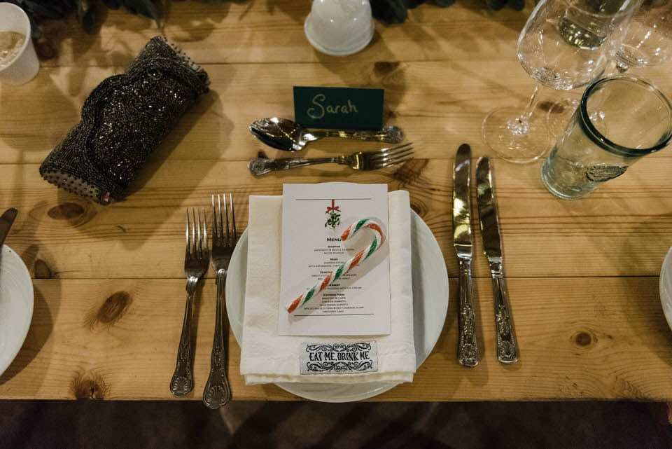 Table setting with candy cane