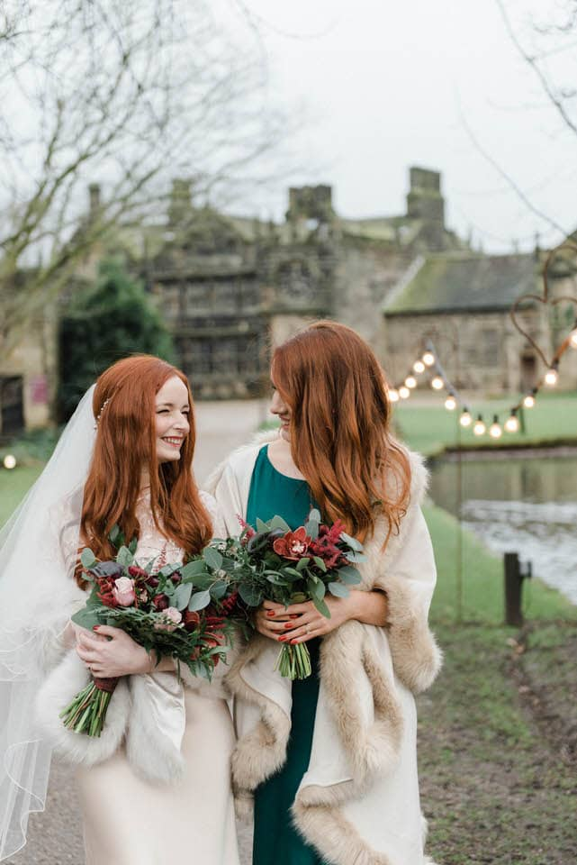 bride and bridesmaid photograph