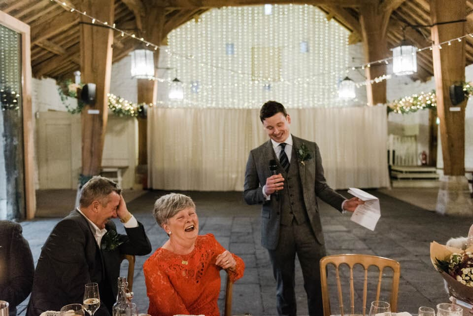 groom giving wedding speech