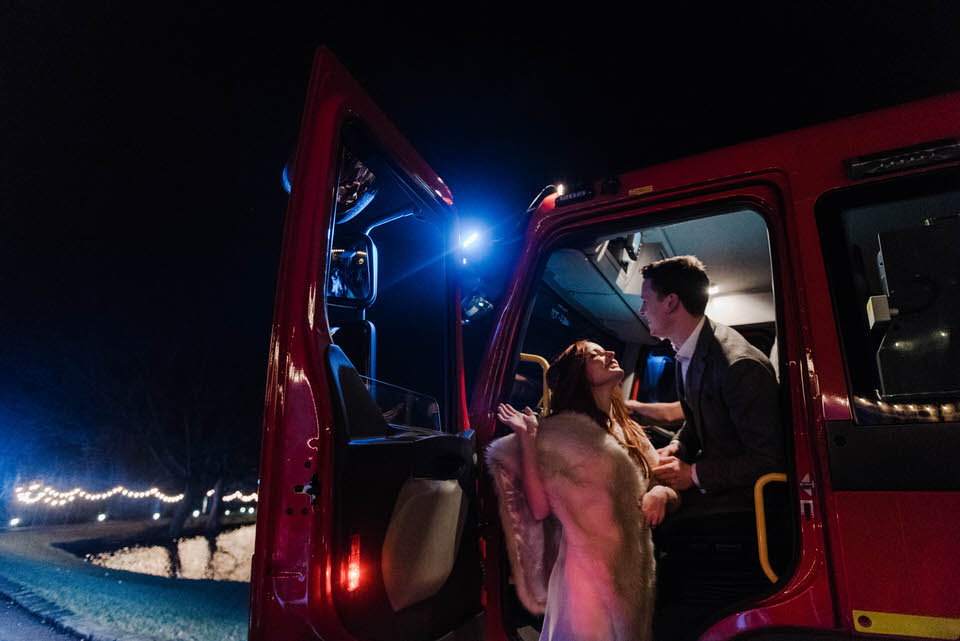 bride and groom in fire engine