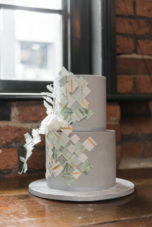 geometric grey wedding cake