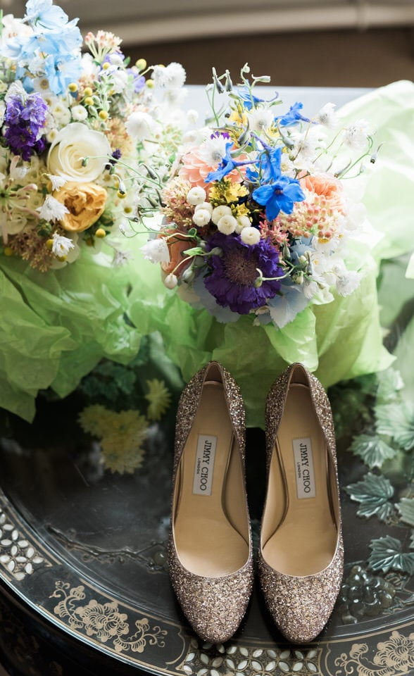 jimmy choo rose gold heels with bridal flowers