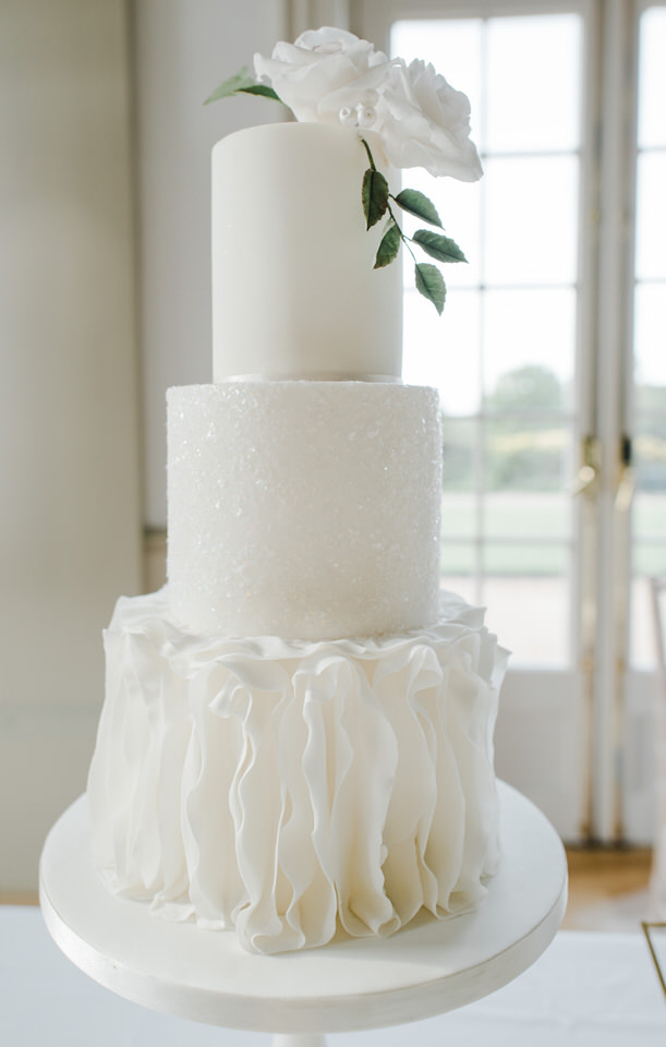 white wedding cake 3 tiers ruffles and glitter detail