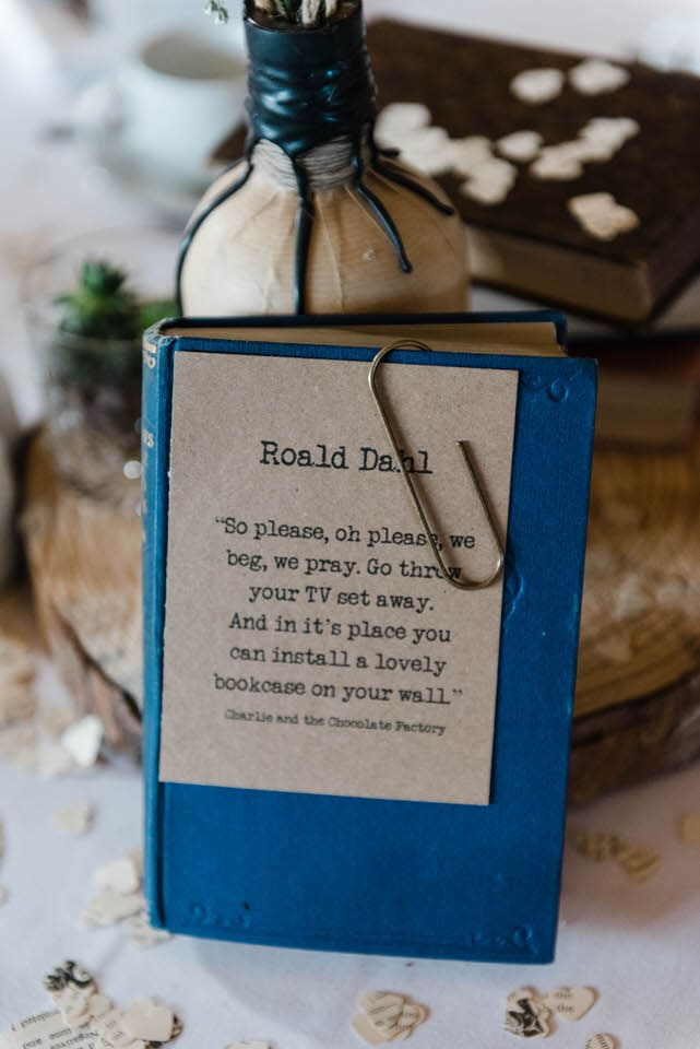 book as a table plan at literature themed wedding