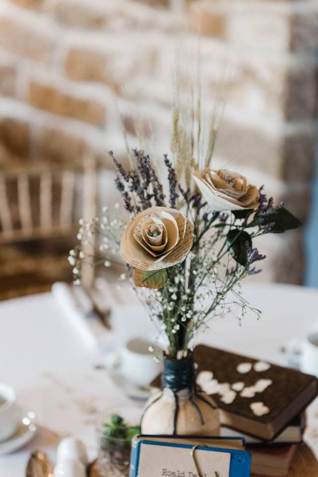 paper flowers as table centres North Yorkshire wedding