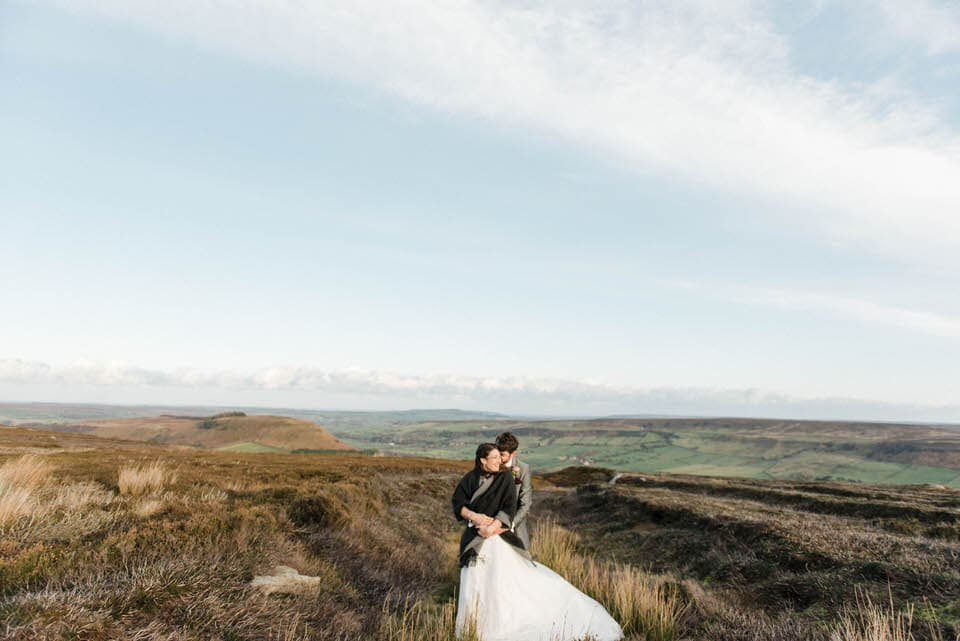 North Yorkshire wedding photography with bride and groom in the moors