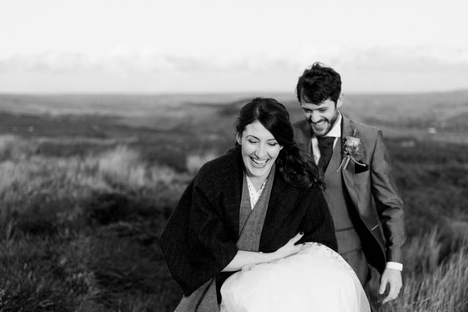 bride and groom in north york moors