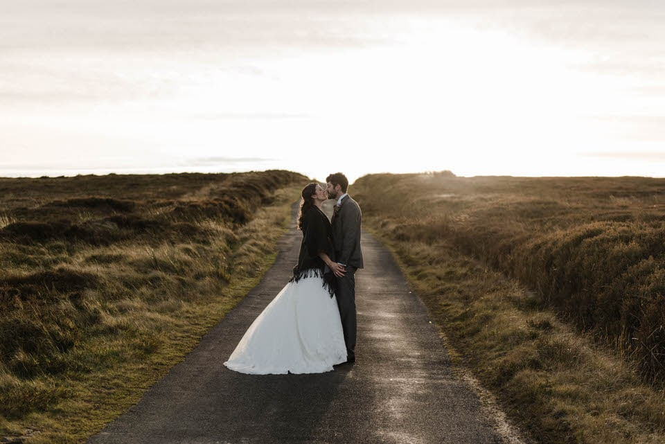 sunset photograph bride and groom north york moors